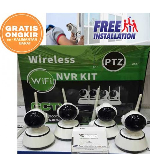 Paket 4 ch NVR Wireless  + 4  IP camera wireless AHD 1,3MP  + HDD 500GB (Gratis O.pasang)