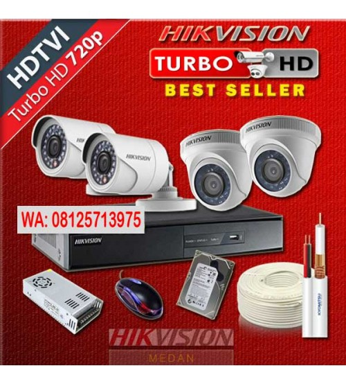 Paket  Murah CCTV  -  4 camera Dome/Outdoor AHD 1/ 1,3MP  Anyvision +  Pasang