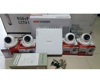 Paket  MURAH/ HEMAT  -  4 camera Dome/Outdoor AHD 1MP  TURBO HD Hikvision (OEM) + Pasang