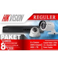 Paket Murah/ Hemat CCTV 8CH + 8 camera Dome/Outdoor 720P (AHD 1Mp) HIkvision+ Pasang