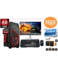 "Paket PC AMD A8 - 7500  Quadcore   Gaming/ Warnet/ Grafis  | LCD Led 19"" LG"