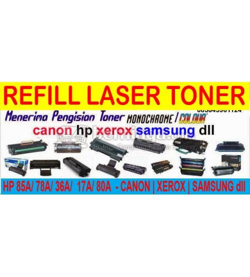 Jasa Refill Laser Toner - HP 85a/ 36a/ 78a/ 17a/ 35a/ 80a/ 05a dll - Canon | Xerox | Samsung | Brother dll  -- Sedia Sparepart Laserjet : Drum/ Toner/ Dokterblade/ Magnet / Wiper/ PCR dll..