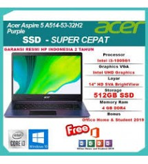 Acer A514 - core i3 - 1005u  -  SSD  512 GB + 32GB Intel Optane | Win 10 | Purple